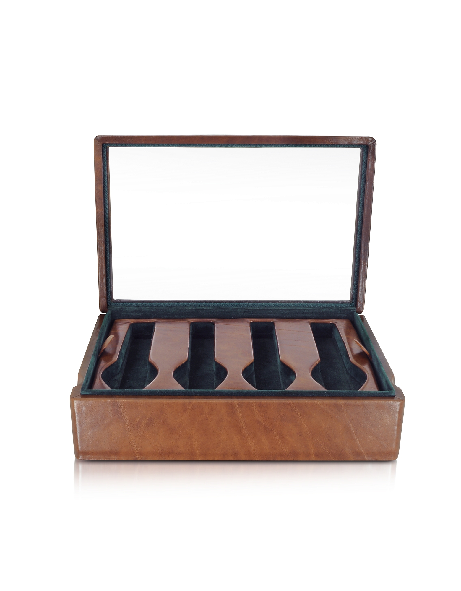 Brown Leather Eight-Watch Box
