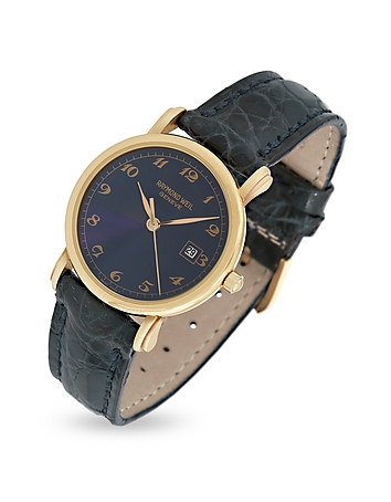 Raymond Weil - Blue Dial 18K Gold and Croco Leather Dress Watch