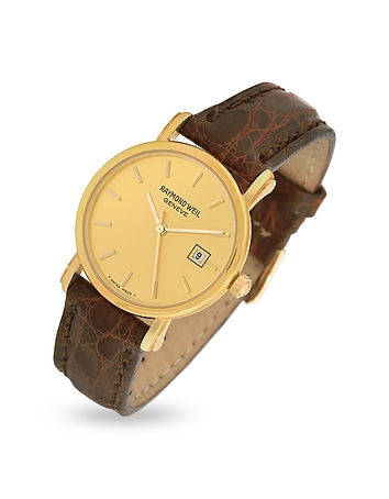 Raymond Weil - Brown Croco-Stamped Leather Strap 18K Gold Date Dress Watch