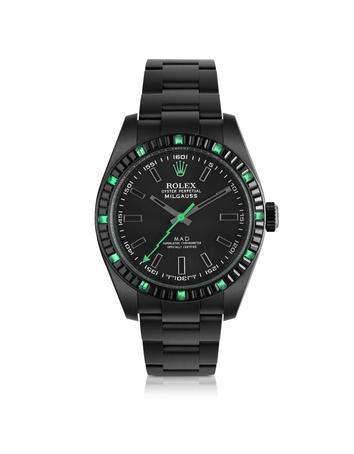 Customized Rolex Milgauss Emerald Baguette Men's Watch