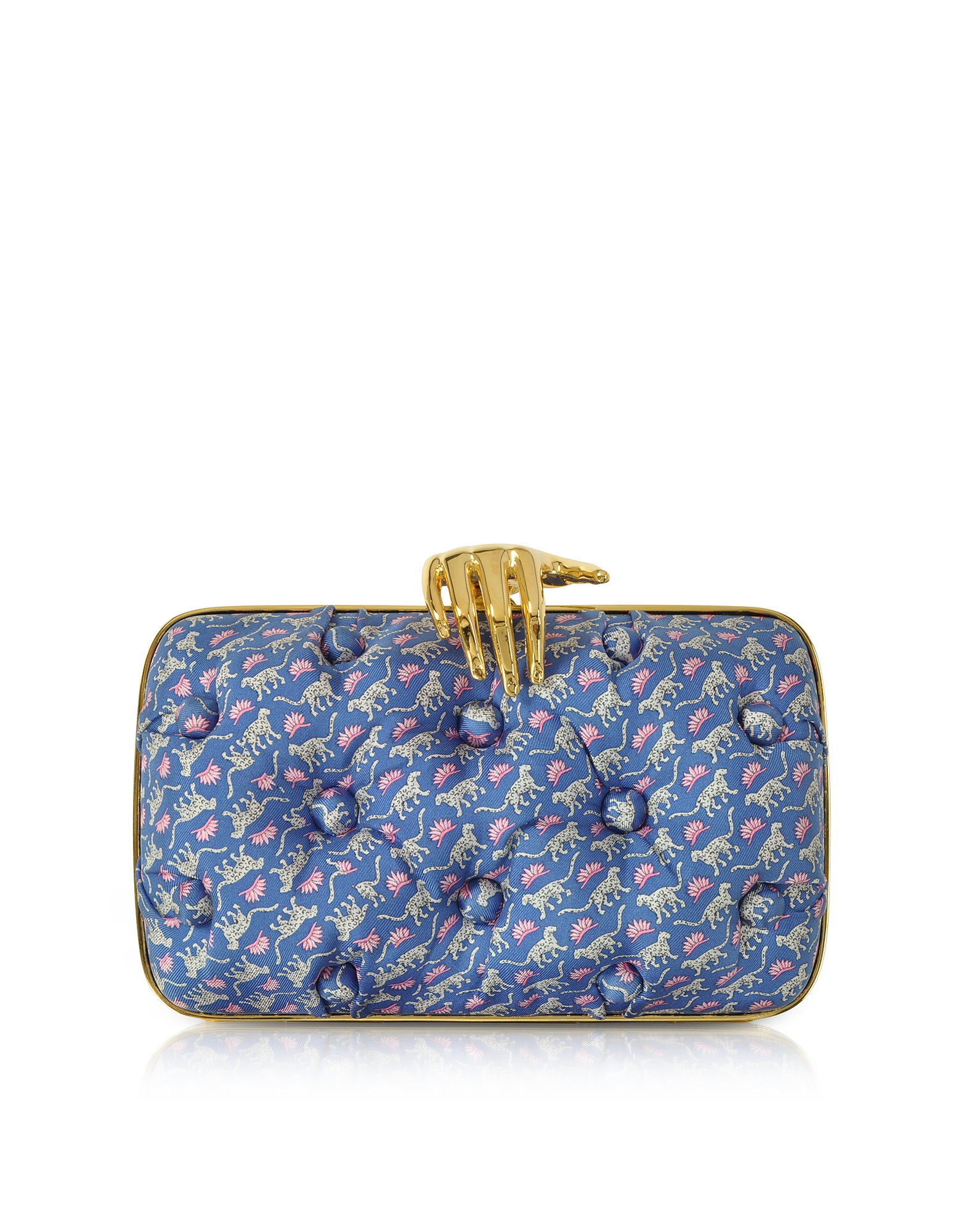 Benedetta Bruzziches Handbags, Leopards Printed Blue Satin Silk Carmen Clutch w/ Golden Hand