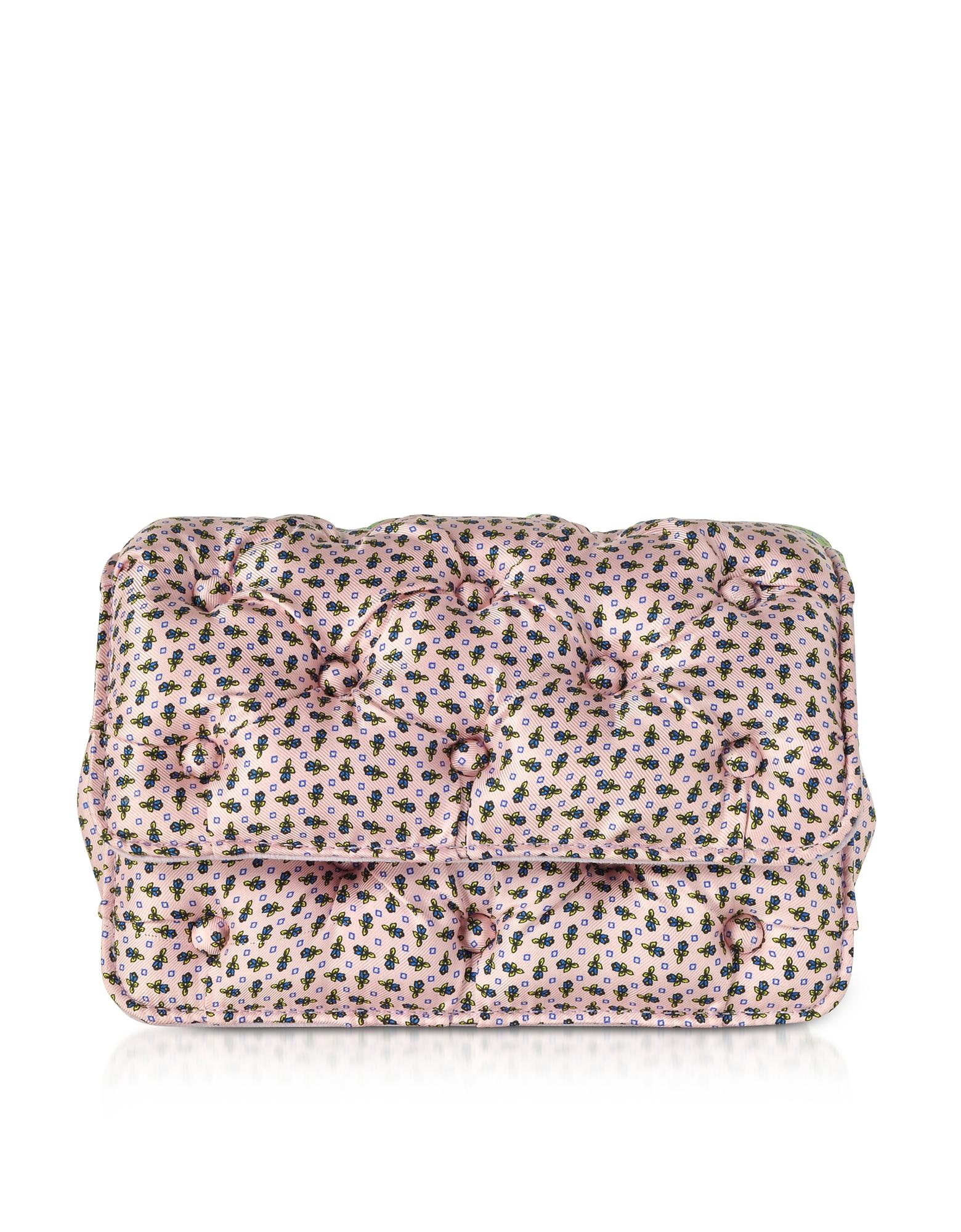 Benedetta Bruzziches Handbags, Floral Printed Pink Satin Silk Carmen Shoulder Bag