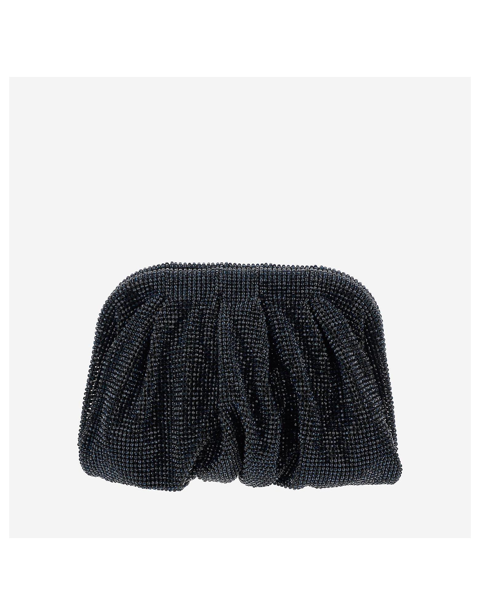 Benedetta Bruzziches Designer Handbags, Venus Small Navy Clutch