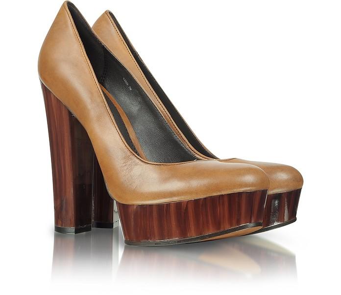 Leila - Brown Leather Platform Pump - Rachel Zoe