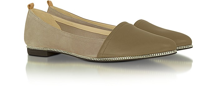 Taylor - Light Brown and Beige Leather Ballerina Flat - Rachel Zoe