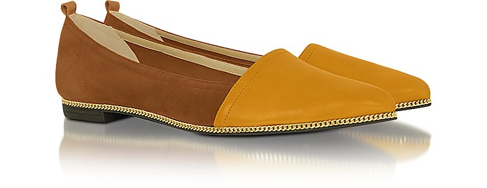 Taylor - Color Block Leather and Suede Ballerina - Rachel Zoe