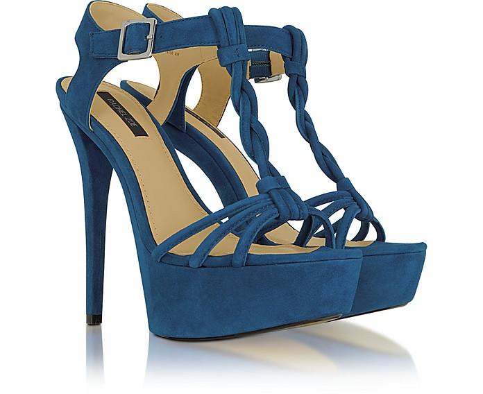 Valerie - Turquoise Suede Platform Sandal - Rachel Zoe
