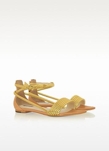 Georgie - Golden leather Sandal - Rachel Zoe