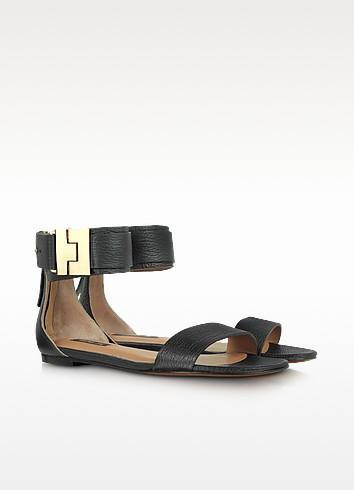Gladys Black Ankle-Cuff Flat Sandal - Rachel Zoe