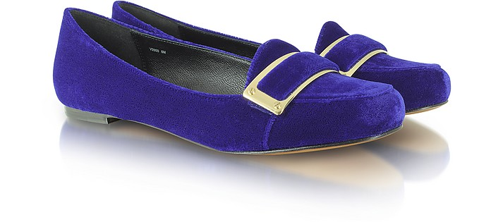 Lily - Blue Velvet Smoking Slipper - Rachel Zoe