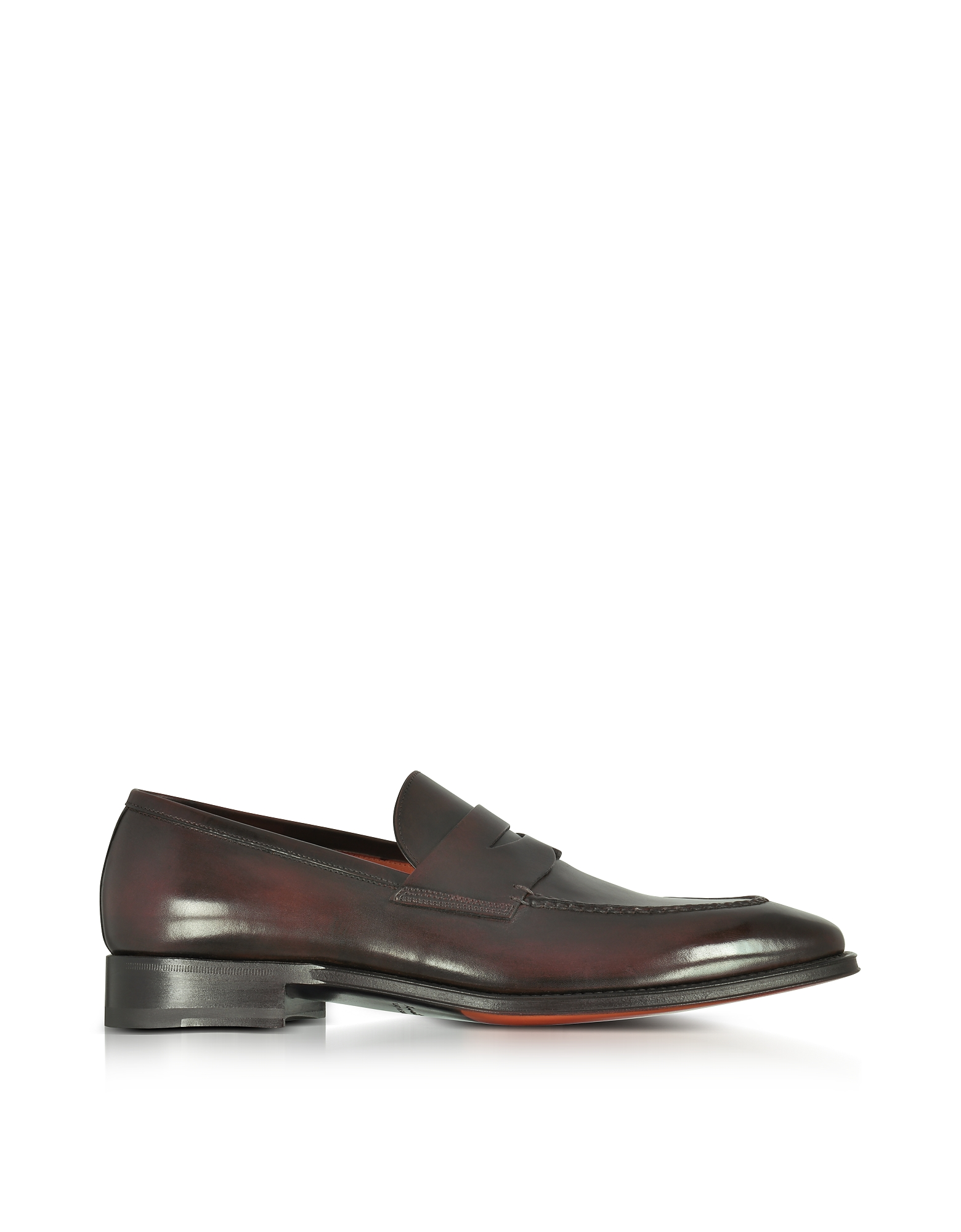 Santoni Shoes, Duke Dark Brown Leather Penny Loafer Shoes