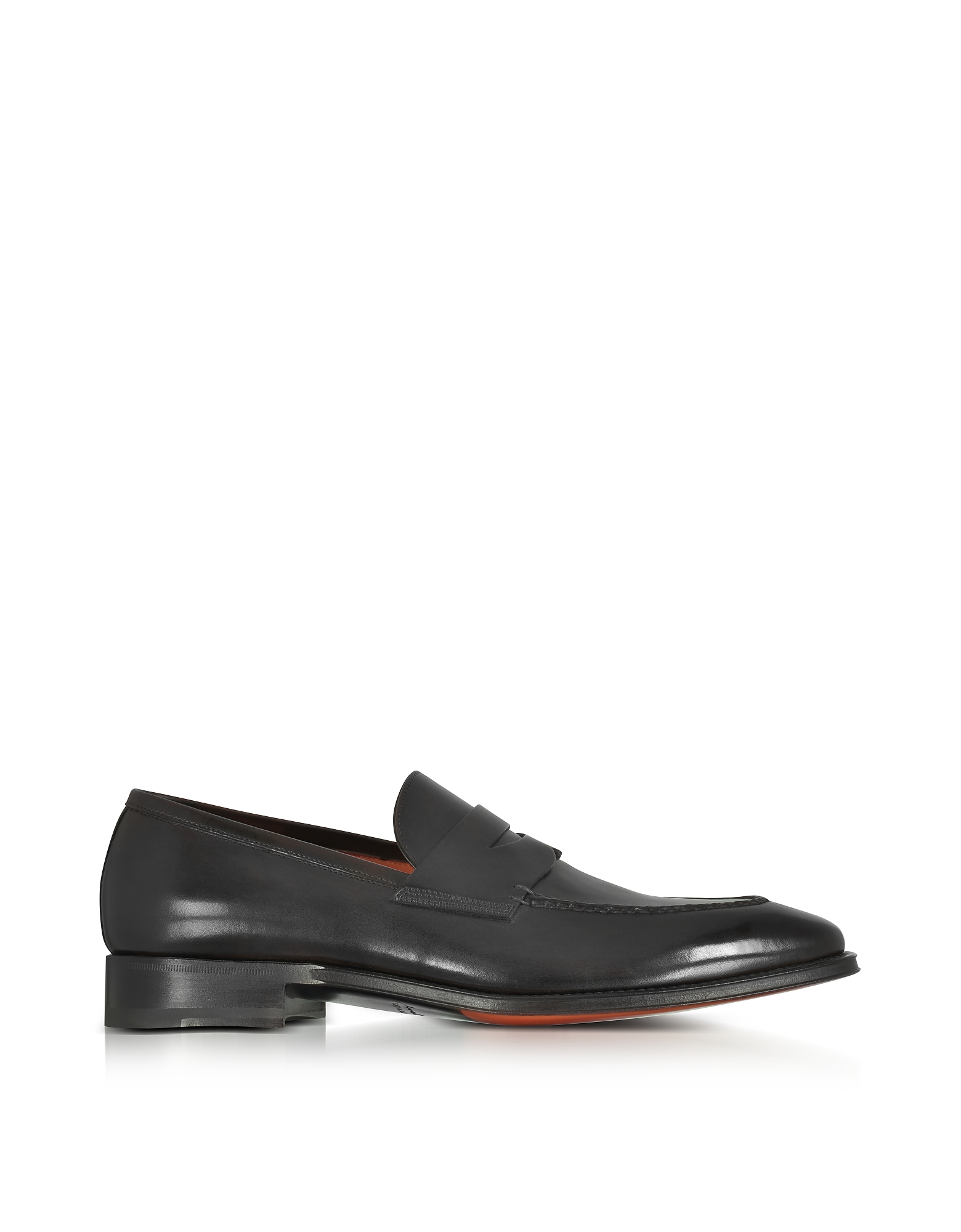 Santoni Shoes, Duke Black Leather Penny Loafer Shoes