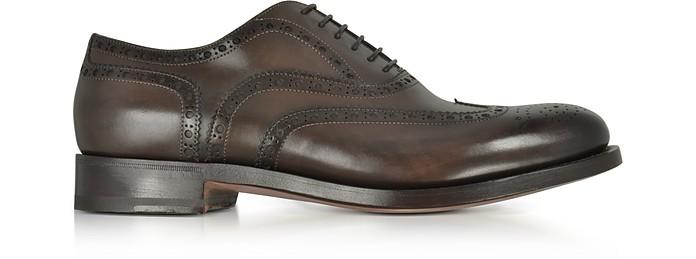 Oscar Dark Brown Leather Wingtip Derby Shoes - Santoni