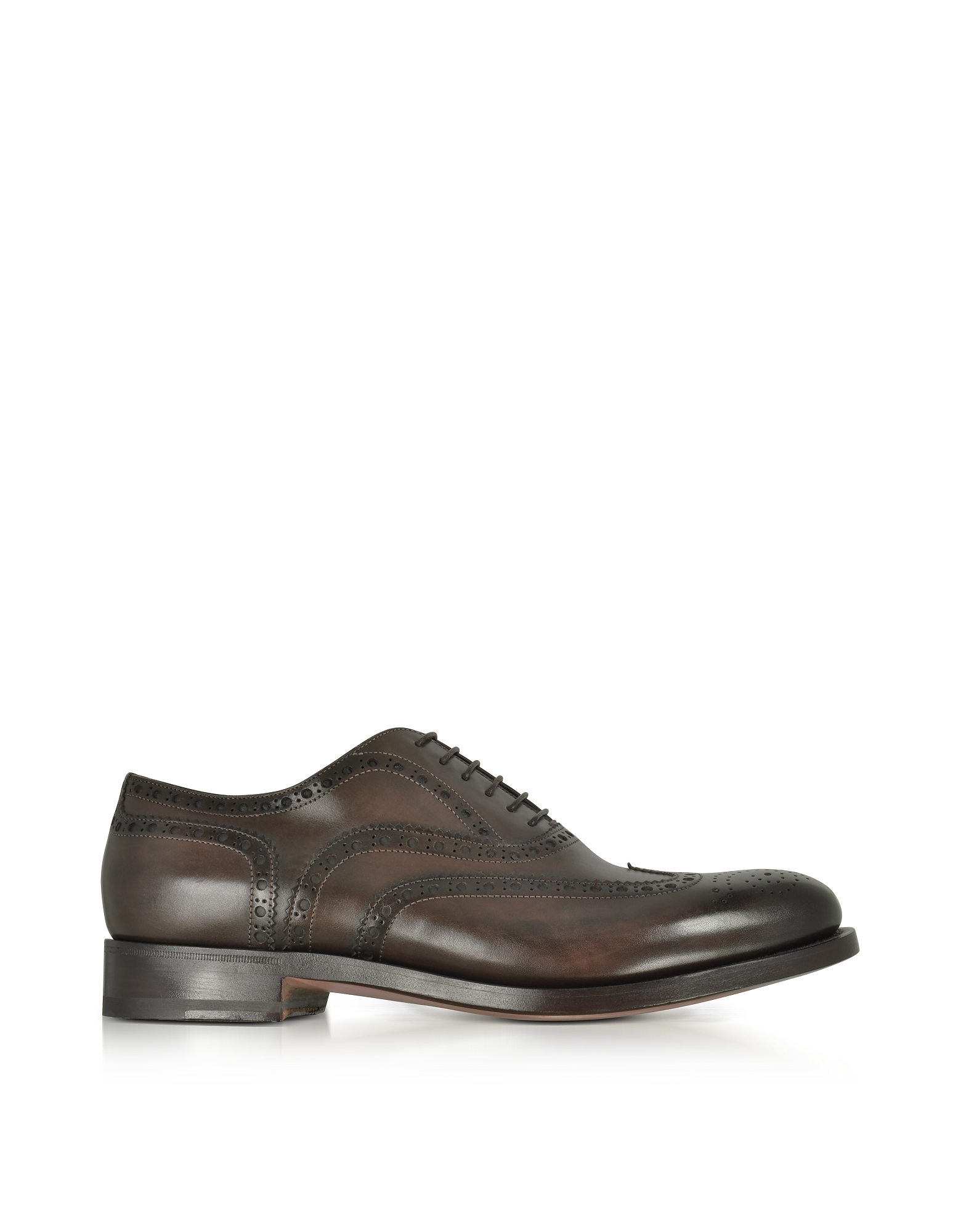 Santoni Shoes, Oscar Dark Brown Leather Wingtip Derby Shoes