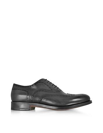 Santoni - Oscar Black Leather Wingtip Derby Shoes