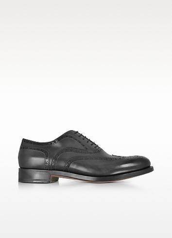 Oscar Black Leather Wingtip Derby Shoes - Santoni