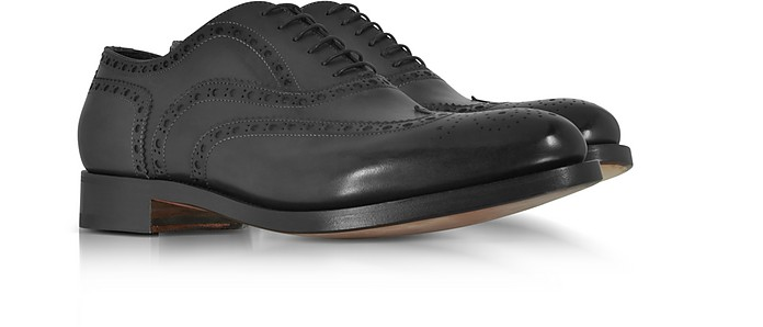 Santoni Oscar Black Leather Wingtip Derby Shoes