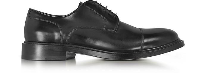 Oscar Black Leather Derby Shoes - Santoni