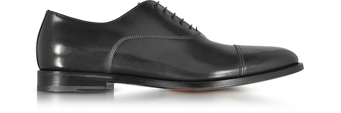 Wilson Black Leather Oxford Shoes - Santoni