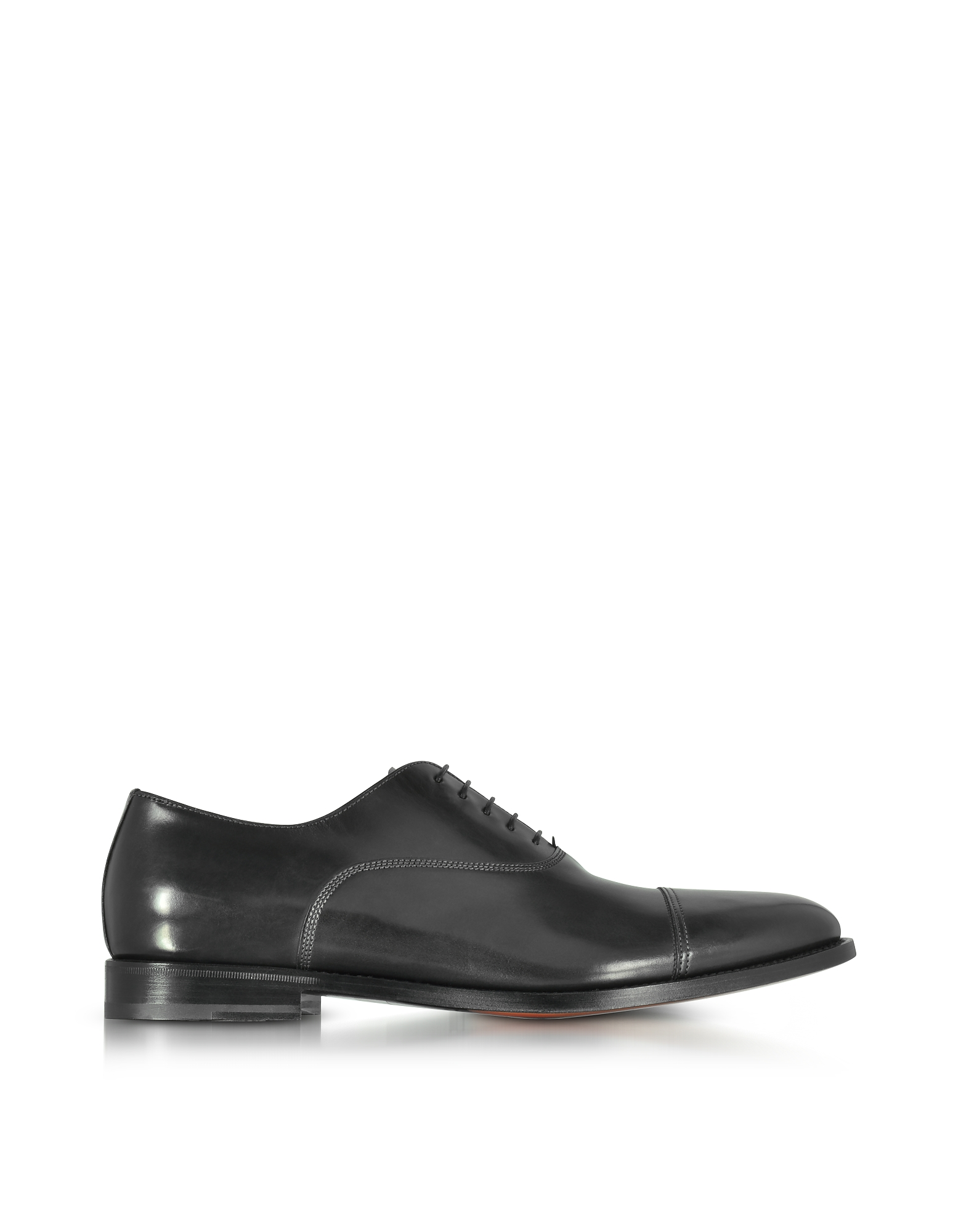 Santoni Wilson Black Leather Oxford Shoes