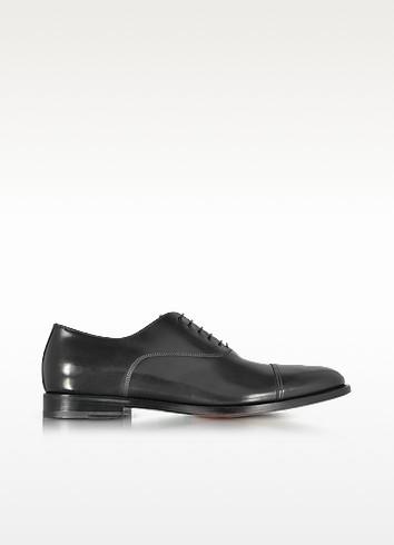 Wilson Black Leather Oxford Shoes - Santoni