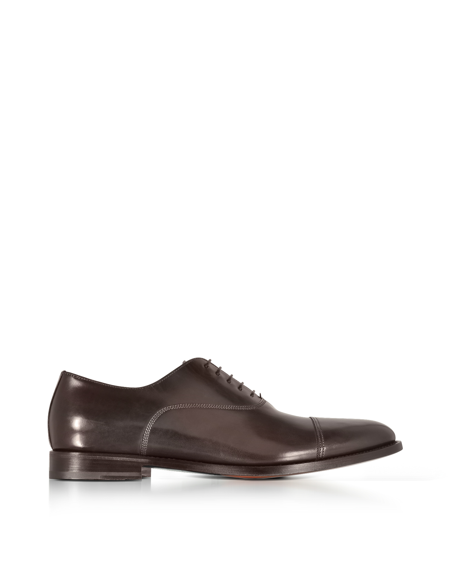 Santoni Shoes, Wilson Dark Brown Leather Oxford Shoes
