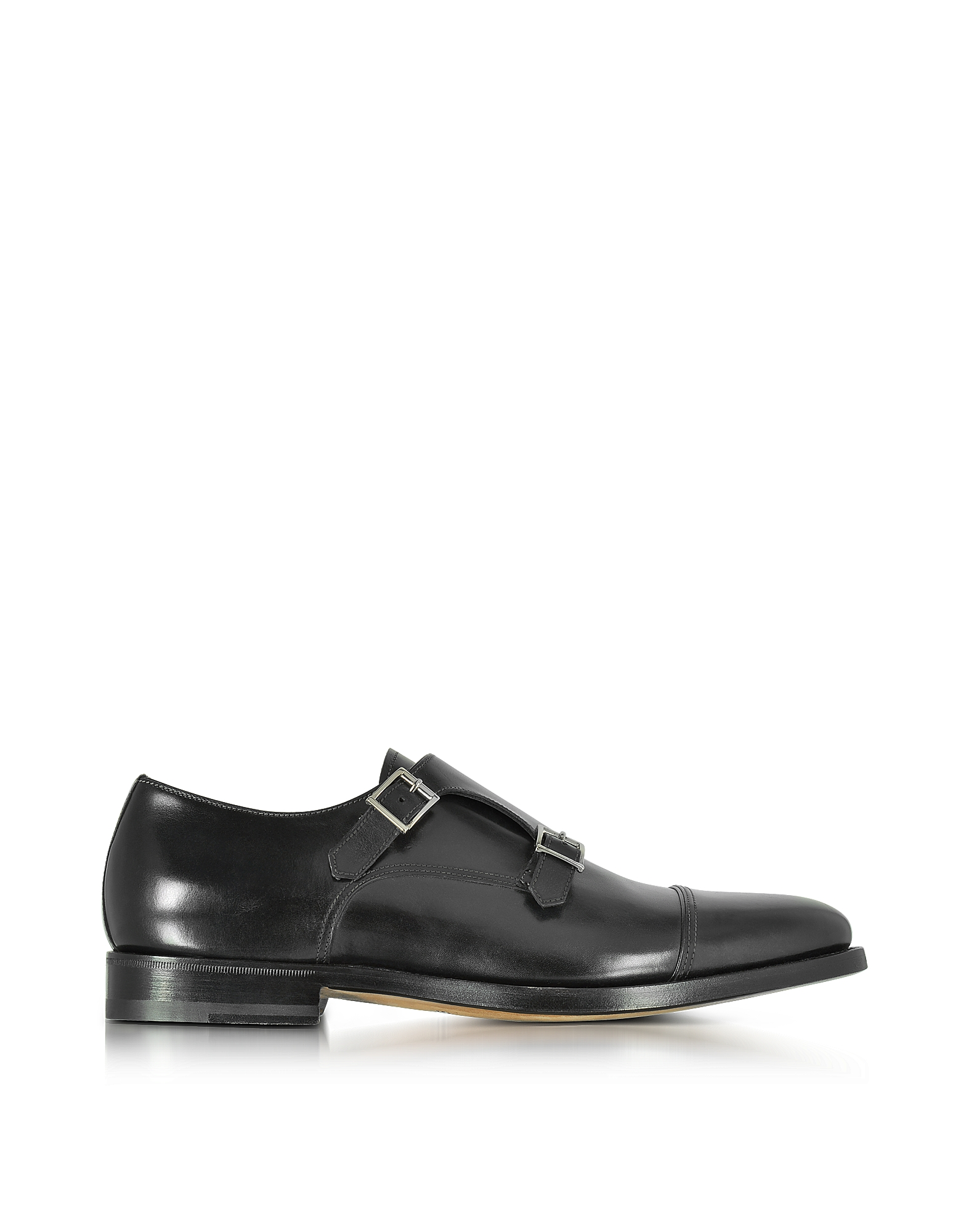Santoni Shoes, Wilson Black Leather Monk Strap Shoes