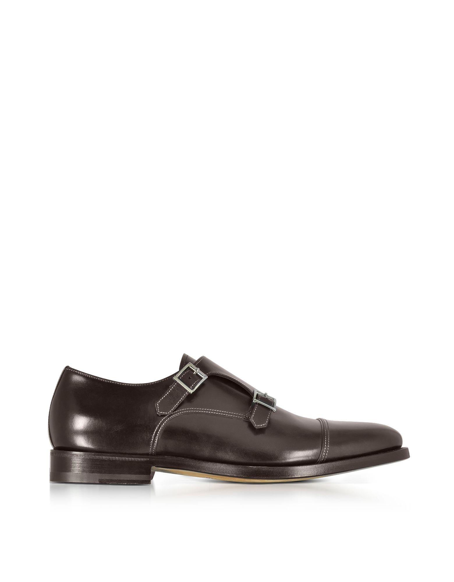 Santoni Shoes, Wilson Dark Brown Leather Monk Strap Shoes