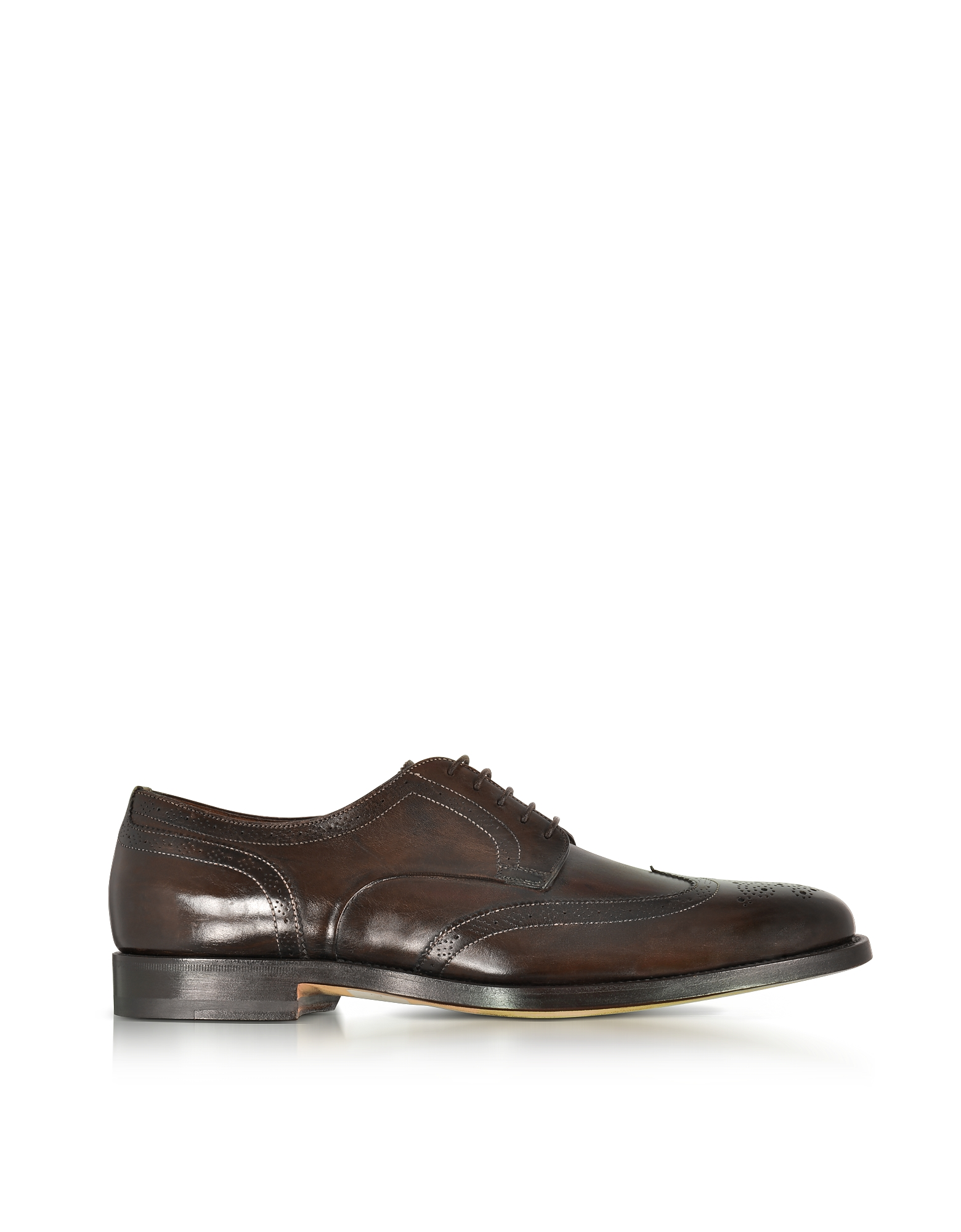 Santoni Shoes, Wilson Dark Brown Leather Wingtip Derby Shoes