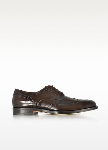 Wilson Dark Brown Leather Wingtip Derby Shoes - Santoni