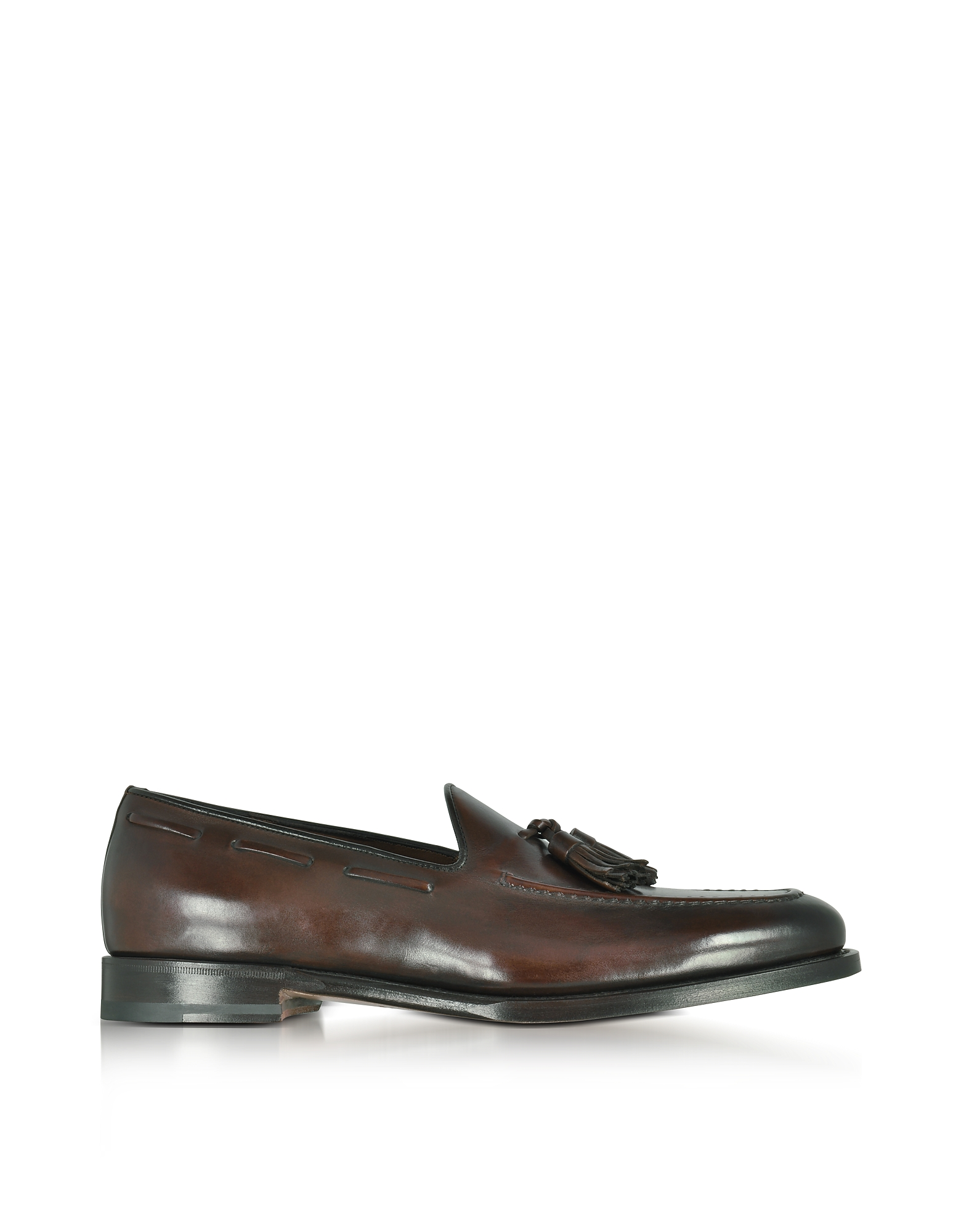 Santoni Shoes, Wilson Dark Brown Leather Loafer Shoes w/Tassels