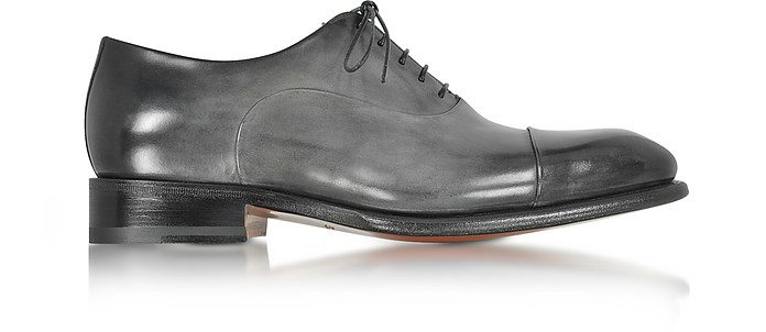 Classic Light Shaded Gray Leather Oxford Shoes - Santoni