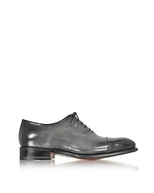 Classic Shaded Light Gray Leather Oxford Shoes - Santoni