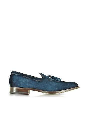 Santoni - Blue Suede Loafer Shoes w/Tassels