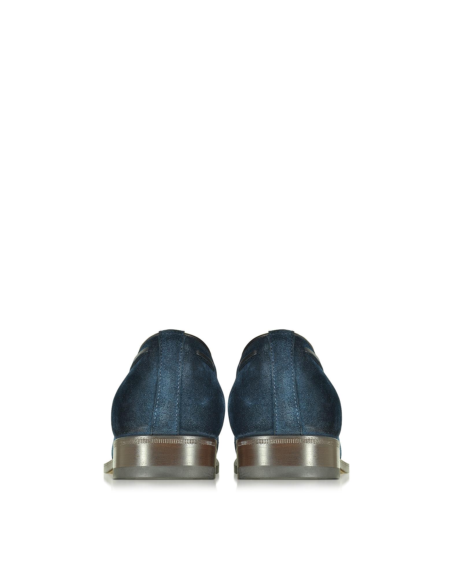 Фото Синие Замшевые Мокасины с Кисточками. Купить с доставкой