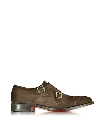 Santoni - Dark Brown Suede Monk Strap Shoes