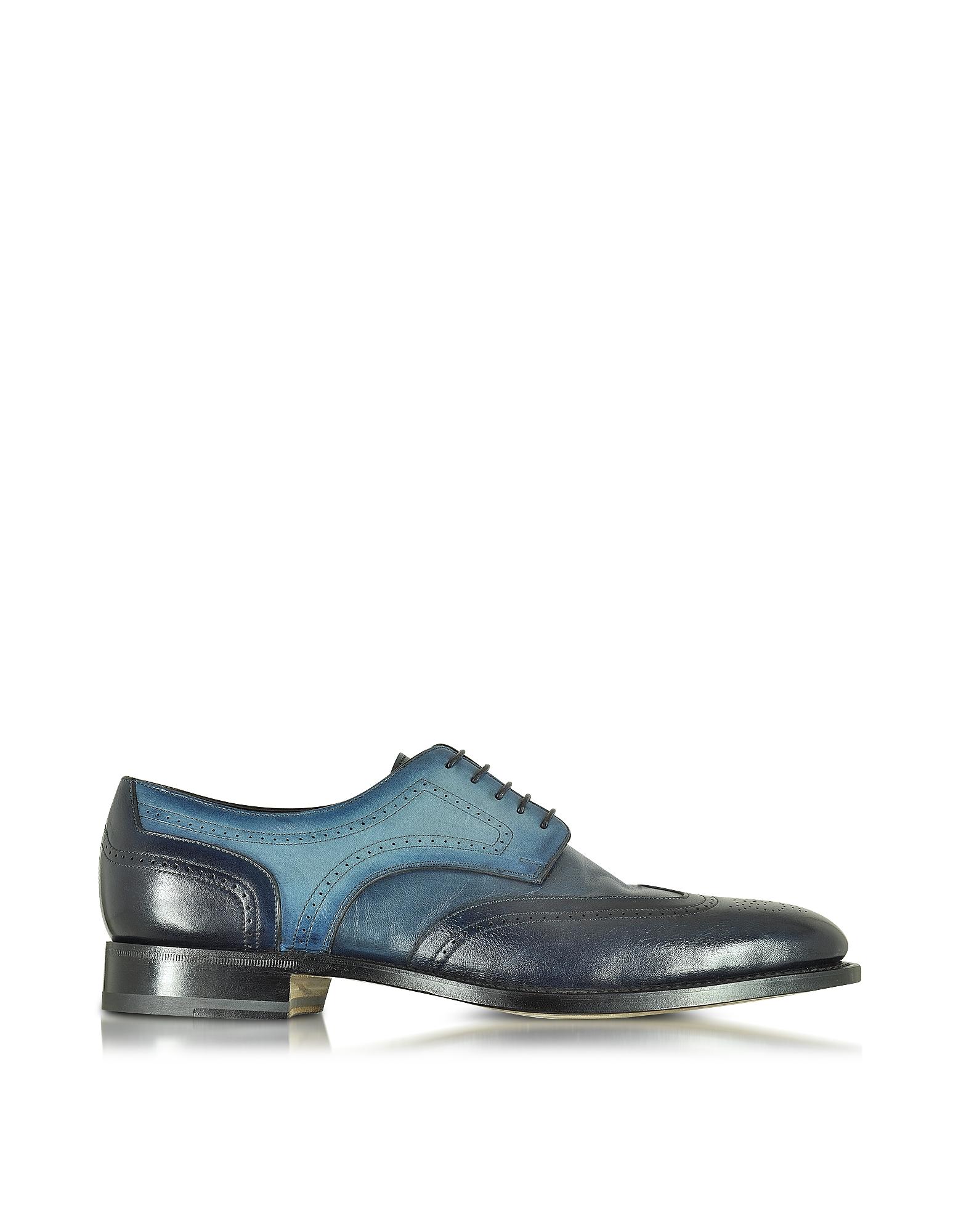 Двухцветные Синие Кожаные Туфли Дерби с Декорированным Мысом