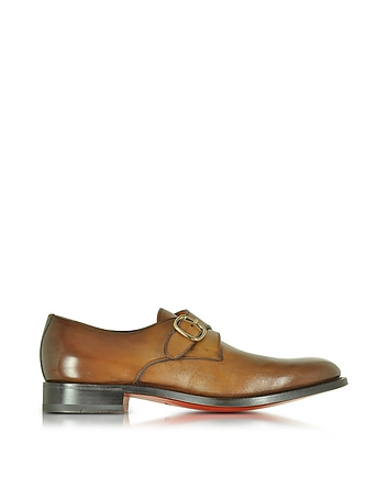 Santoni - Brown Leather Monk Strap Shoes