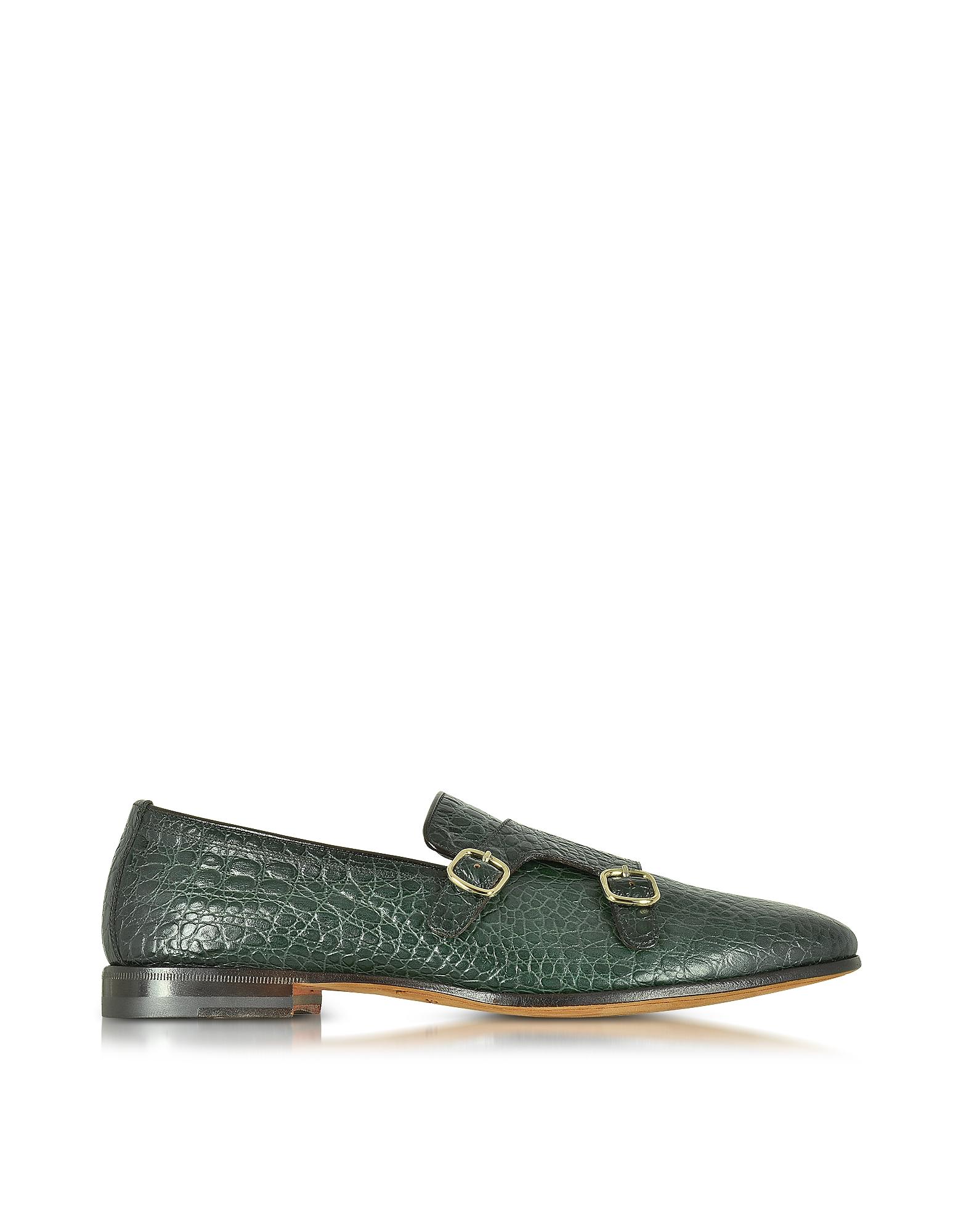 Зеленые Туфли из Кожи под Крокодиловую с Ремешками