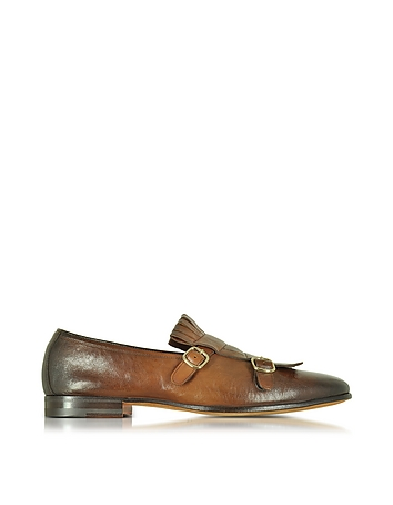 Santoni - Shaded Brown Leather Monk Strap Shoes w/Fringes