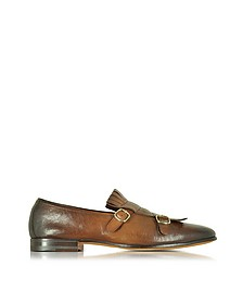 Shaded Brown Leather Monk Strap Shoes w/Fringes - Santoni