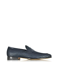 Blue Woven Leather Loafer Shoes - Santoni