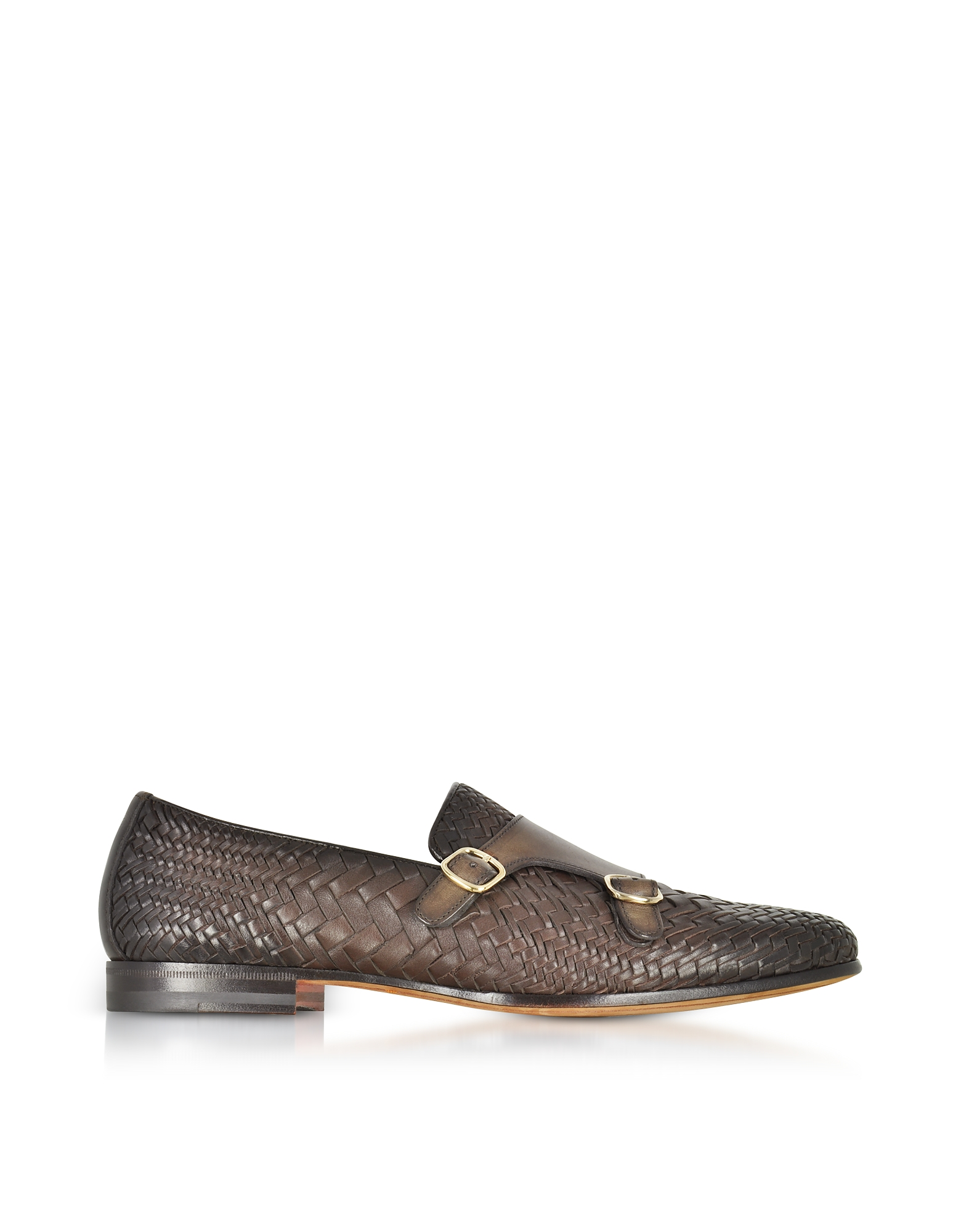Santoni Shoes, Dark Brown Woven Leather Double Monk Strap Shoes