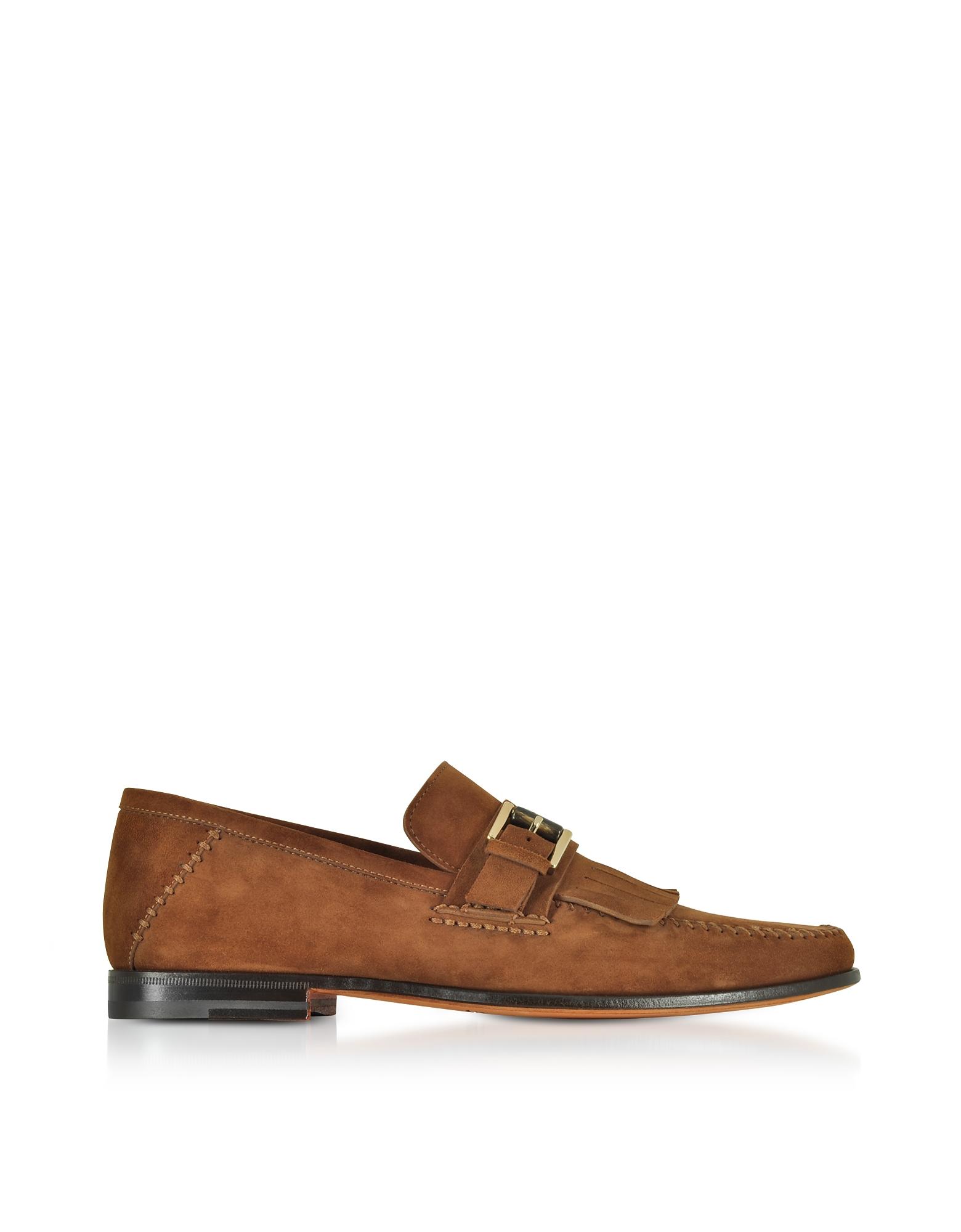 Santoni Shoes, Light Brown Suede Fringed Loafer
