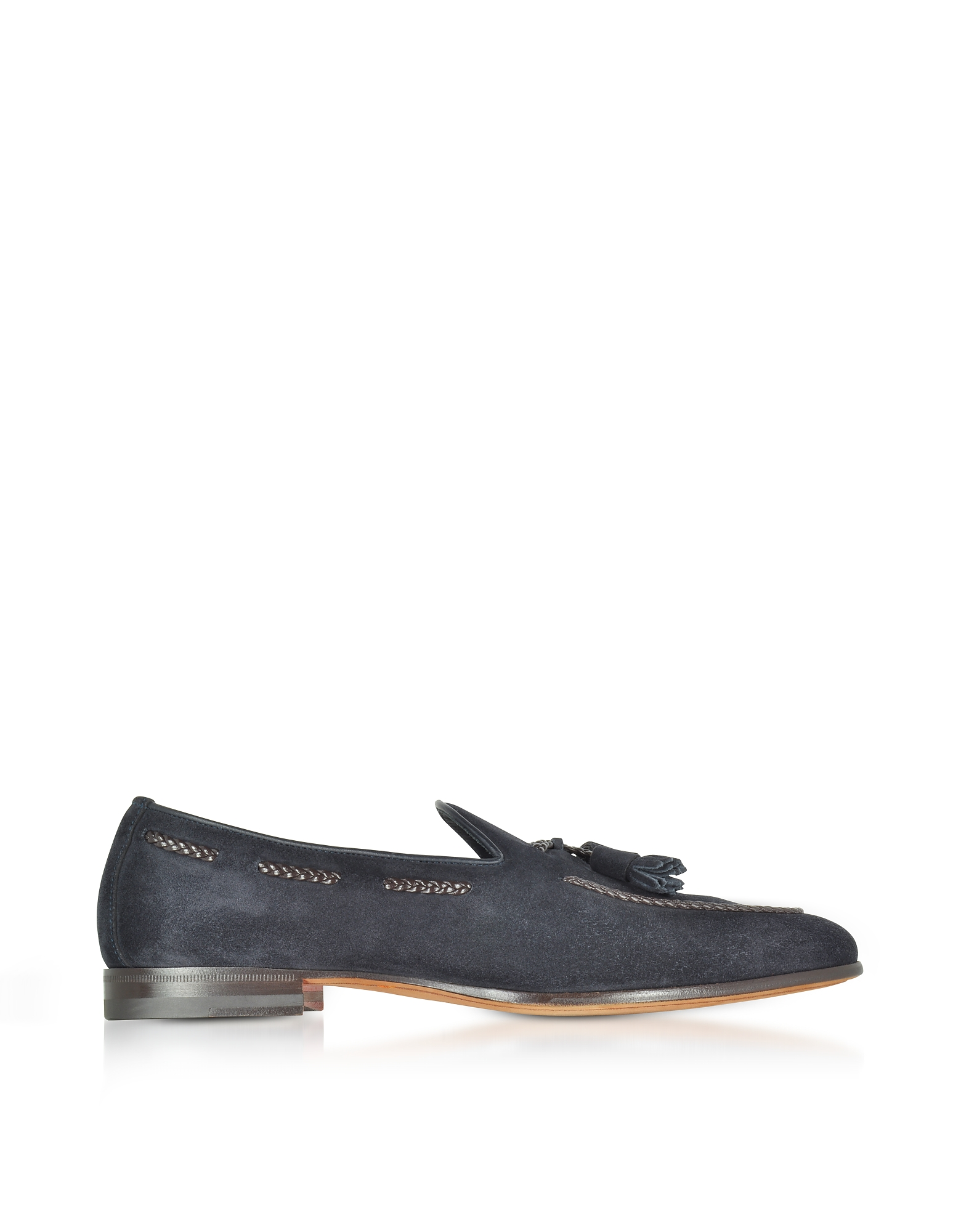 Santoni Shoes, Dark Blue Suede Loafer w/Tassels