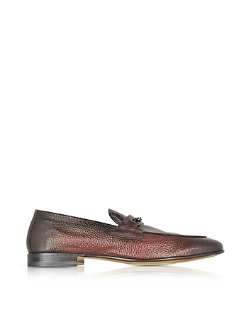 Brownish Red Stingray Leather Horsebit Loafer
