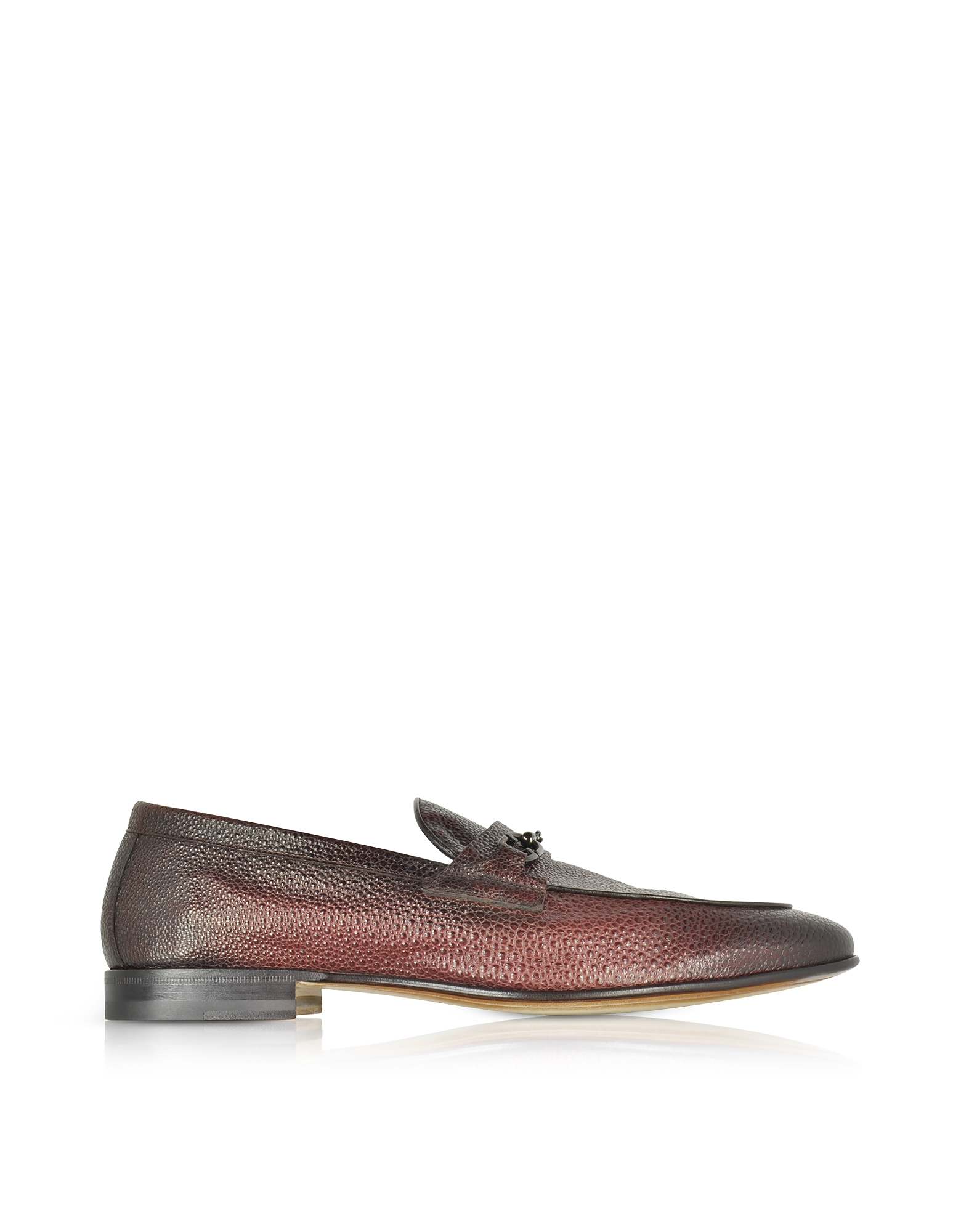 Santoni Shoes, Brownish Red Stingray Leather Horsebit Loafer