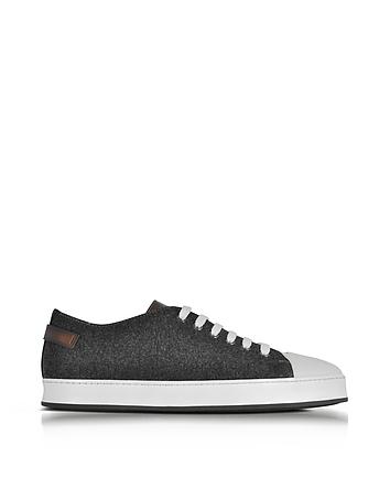 Santoni - White Leather and Dark Gray Felt Men's Sneakers