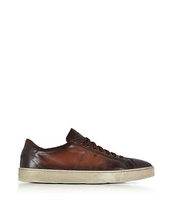 Santoni - Brown Distressed Leather Low Top Men's Sneakers