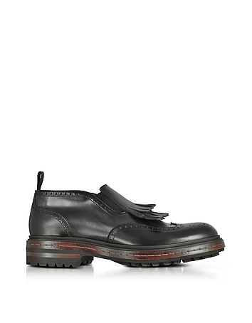 Santoni - Black Fringed Leather Ankle Boots